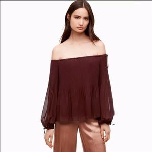 Aritzia Wilfred off the shoulders pleated top